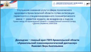 Яшкович В.А. Промежуточные результаты проекта